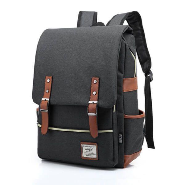 Foto de presentación de mochila vintage urbana de oxford color gris oscuro