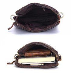 Foto de morral vertical casual de cuero natural mostrando su vista del bolsillo principal en dos aspecto uno vació y el otro lleno en color café