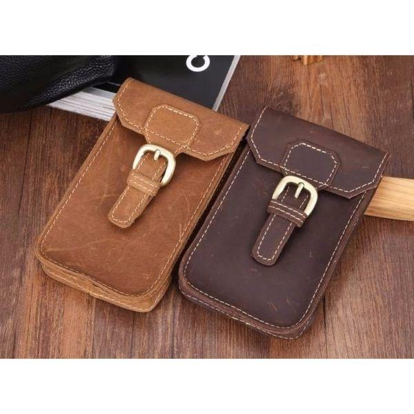 Foto de portacelular para cinturón de cuero natural mostrando sus colores disponibles en marrón y café