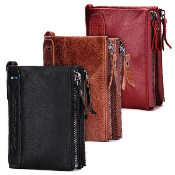 Foto de billetera doble cierre con monedero de cuero natural mostrando su tres variación de colores: negro, marrón y rojo