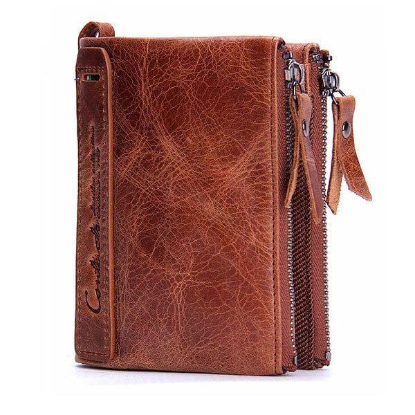 Foto de presentación de billetera doble cierre con monedero de cuero natural en color marrón