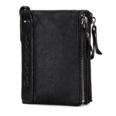 Foto de presentación de billetera doble cierre con monedero de cuero natural en color negro