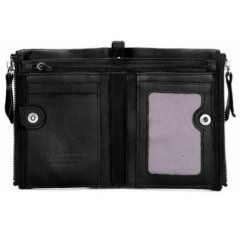 Foto de billetera doble cierre con monedero de cuero natural mostrando su vista interior en color negro