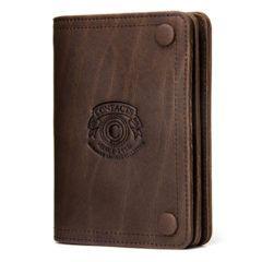 Foto de presentación de billetera de broches con monedero de cuero natural en color café
