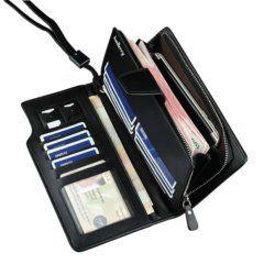 Foto de billetera larga ejecutiva de cuero PU donde se muestra los bolsillos y tarjeteros a su máxima capacidad en color negro
