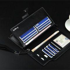 Foto de billetera larga ejecutiva tarjetero de cuero PU mostrando su capacidad de almacenamiento en color negro