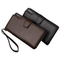 Foto de billetera larga ejecutiva tarjetero de cuero PU mostrando sus dos colores en stock negro y café
