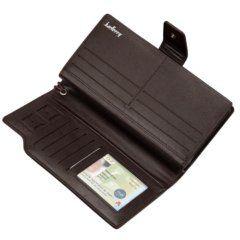 Foto de billetera larga ejecutiva tarjetero de cuero PU mostrando su vista interior en color café