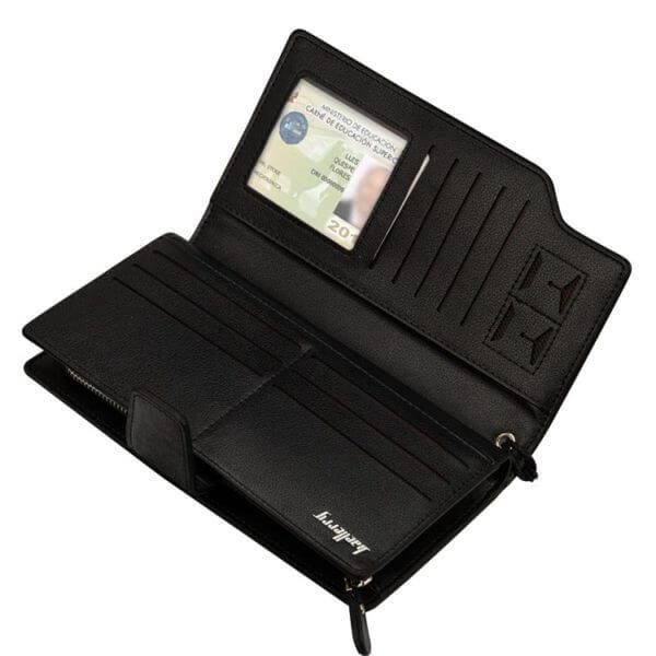 Foto de billetera larga ejecutiva tarjetero de cuero PU mostrando su vista interior en color negro