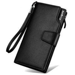 Foto de presentación de billetera larga ejecutiva tarjetero de cuero PU en color negro