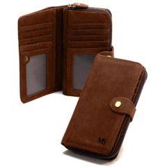 Foto de billetera portacelular vintage con broche y cierre de cuero natural donde se aprecia una imagen referencia del modelo cerrado y abierto en color marrón