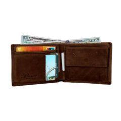 Foto de billetera vintage bifold con monedero de cuero natural en color café mostrando su capacidad de almacenamiento frontal
