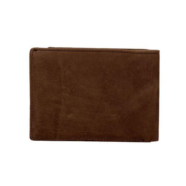 Foto de billetera vintage bifold con monedero de cuero natural mostrando su vista posterior en color marrón
