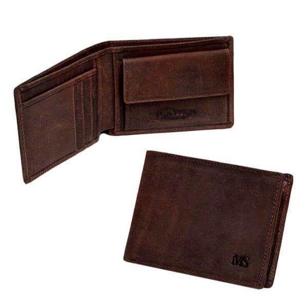 Foto de presentación de billetera vintage bifold con monedero de cuero natural en color café se aprecian una imagen de la billetera abierta y la otra cerrada