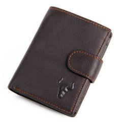Foto de presentación de billetera vertical clásica con broche y monedero de cuero natural en color café
