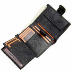 Foto que muestra la vista de capacidad de tarjetas de billetera vertical clásica con broche y monedero de cuero natural en color negro
