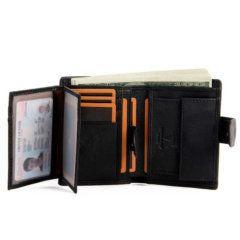 Foto que muestra los tarjeteros que incluye la billetera vertical clásica con broche y monedero de cuero natural en color negro que sirven para guardar ID u otro tipo de tarjetas
