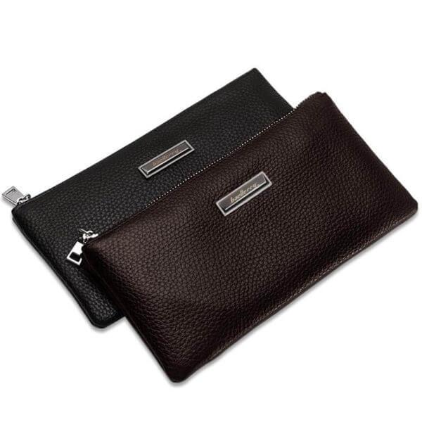 Foto de billetera larga con cierre y portacelular mostrando colores disponible café y negro