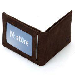 Foto de billetera vintage minimalista de cuero natural mostrando vista de capacidad posterior en color café