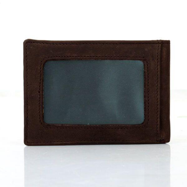 Foto de vista posterior de billetera vintage minimalista de cuero natural en color café