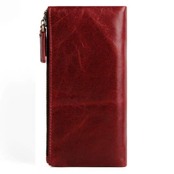 Foto de billetera larga clásica con doble cierre mostrando vista posterior en color rojo