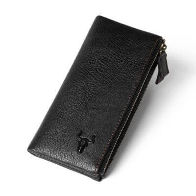 Foto de presentación de billetera larga clásica con doble cierre de cuero natural en color negro