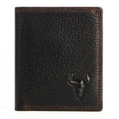 Foto de billetera vertical clásica trifold slim mostrando variación en color negro