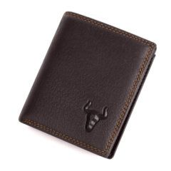 Foto de presentación de billetera vertical clásica trifold slim en color café