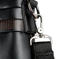Foto de morral maletín elegante ejecutivo de cuero pu mostrando detalle de refuerzo de correa en color negro