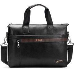 Foto de presentación de morral maletín elegante ejecutivo de cuero pu mostrando variación en color negro