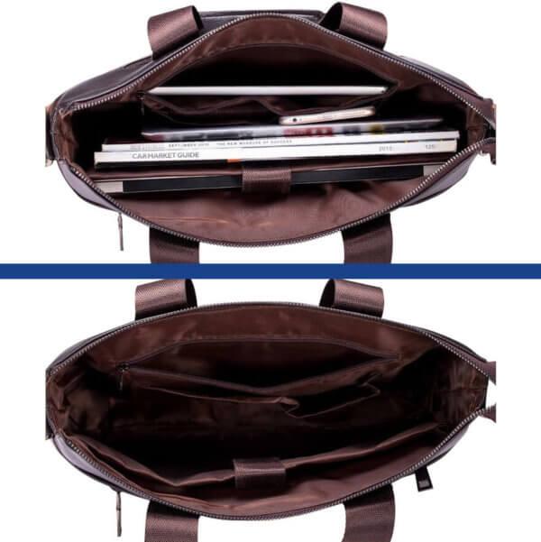 Foto de morral maletín elegante ejecutivo de cuero pu mostrando vista de capacidad interior en color café