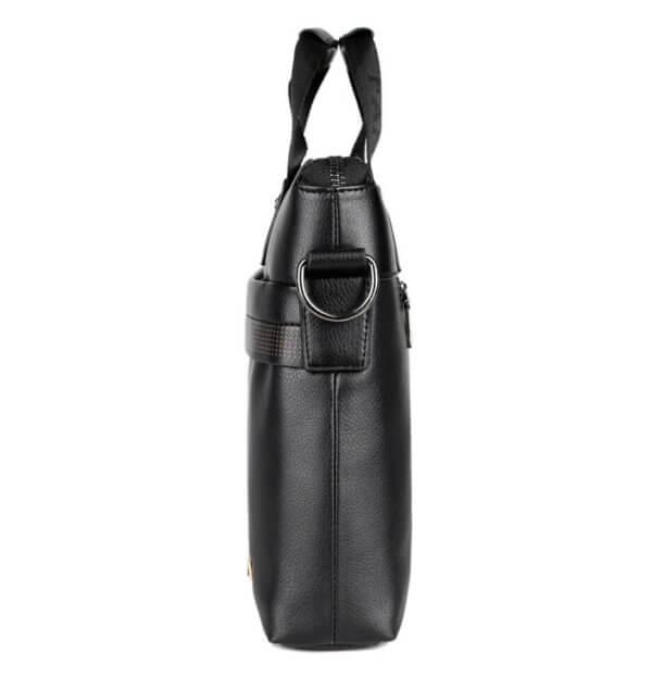 Foto de morral maletín elegante ejecutivo de cuero pu mostrando vista lateral en color negro