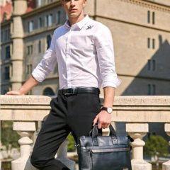 Foto de modelo usando morral maletín elegante ejecutivo de cuero pu en color negro