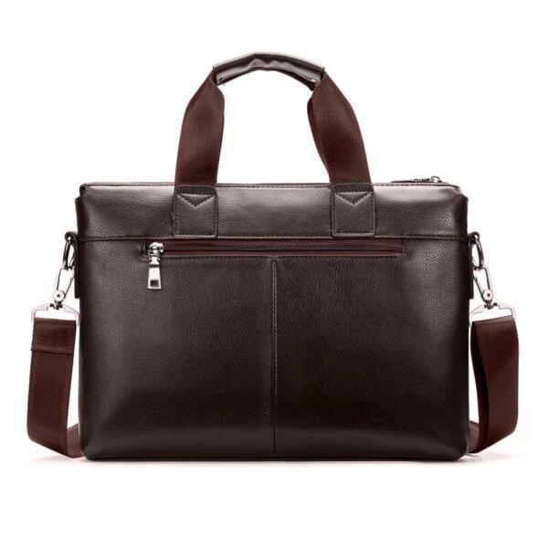 Foto de morral maletín elegante ejecutivo de cuero pu mostrando vista posterior en color café