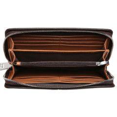 Foto de billetera larga ejecutiva premium con cierre de cuero natural mostrando su vista interior de bolsillos, tarjeteros y monedero