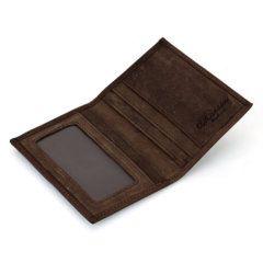 Foto de billetera vertical vintage minimalista de cuero natural mostrando su vista interior y tarjeteros en color café