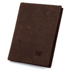 Foto de presentación de billetera vertical de vintage minimalista de cuero natural en color café