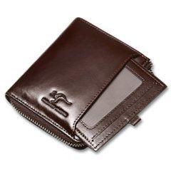 Foto de billetera vertical casual con cierre de cuero natural mostrando la ID card removible en color café