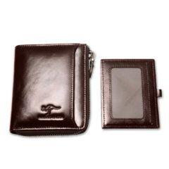 Foto de billetera vertical casual con cierre de cuero natural mostrando ID card extraible