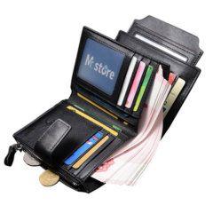 Foto de billetera vertical ejecutiva con broche de cuero natural mostrando su capacidad de almacenamiento en color negro
