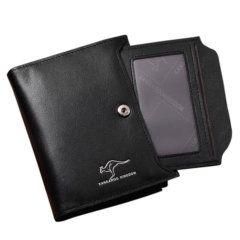 Foto de billetera vertical ejecutiva con broche de cuero natural mostrando su ID Card extraible en color negro