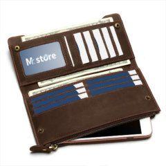 Foto de billetera larga vintage bifold con cierre de cuero natural mostrando su capacidad de almacenamiento aparte muestra referencia el tamaño permitido para teléfonos
