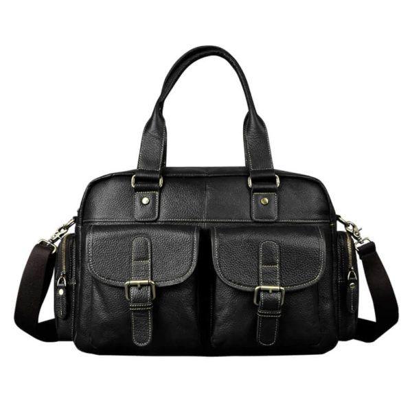 Foto de presentación donde se muestra el maletín morral clásico urbano viajero de cuero natural mostrando su variación en color negro