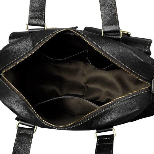 Foto de maletín morral clásico urbano viajero de cuero natural mostrando una vista de su bolsillo principal en color negro