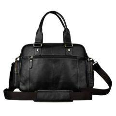Foto de maletín morral clásico urbano viajero de cuero natural color negro mostrando su vista posterior en color negro